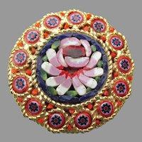 Vintage 1950's Mid Century Italian Micro Mosaic Flower Pin