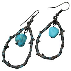 Black Enamel Barbed Wire & Dangle Turquoise Artisan Earrings