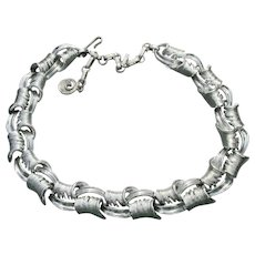 Gorgeous LISNER Mid-Century Modern Link Silver Tone Necklace