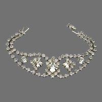 Pretty Unsigned WEISS Vintage Wide Emerald Cut Rhinestone Bracelet