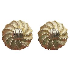 Signed KRAMER Vintage Textured Gold Tone Button Clip Earrings