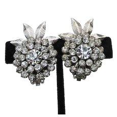 Big & Pretty Rhinestone PINEAPPLE Vintage Clip Earrings