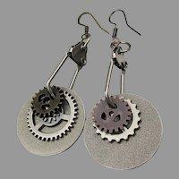 Artisan Industrial Chic Dangle Gears Travel Earrings