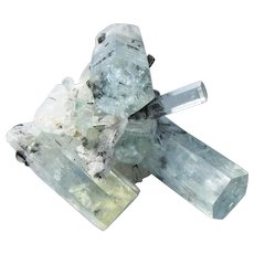Aquamarine & Black Tourmaline Mineral Crystal