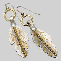 Funky Handmade Artisan LEAF Long Dangle Sterling Earrings