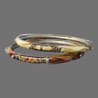 Pair Vintage Enamel Cloisonne Bangle Bracelets, Size Large