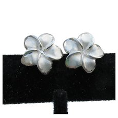 Sterling Silver & White Enamel FLOWER Vintage Stud Pierced Earrings