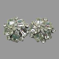 Brilliant Unsigned WEISS Vintage Emerald Cut Rhinestone Earrings