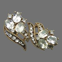 Vintage Crown TRIFARI Oval Rhinestone Mid Century Clip Earrings