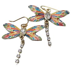 Pretty DRAGONFLY Multi-Color Enamel & Rhinestone Dangle Pierced Earrings