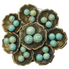 Vintage 1940's Miriam HASKELL Faux Turquoise Flower Cluster Pin