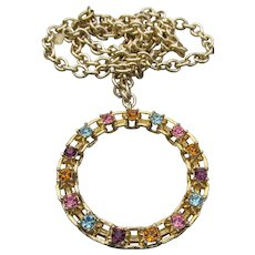 Sarah Coventry Vintage 1974 Picadilly Circle Multi-Color Rhinestone Necklace