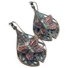 Hand-Painted Verdigris Artisan Copper Filigree BUTTERFLY Dangle Earrings