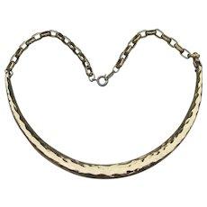 Signed NAPIER Vintage 1980's Solid Hammered Collar Choker Necklace