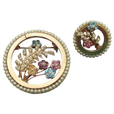 1950's Vintage Faux Pearl Fern & Multi-Color Rhinestone Flower Circle Pin