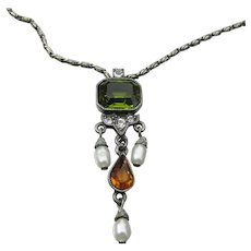 Signed Ben-Amun Crystal & Cultured Rice Pearl Pewter Choker Necklace