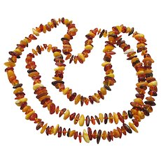 "Genuine Baltic Amber 34"" Hand-Knotted Long Vintage Necklace, Egg Yolk, Honey, Cognac"