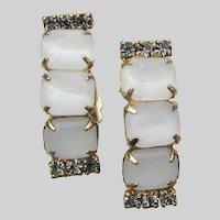 White Moonglow Rhinestone Vintage Demi Hoop Clip Earrings