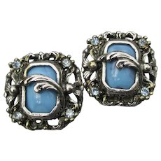 Square Pewter Blue Glass & Rhinestone 1960's Vintage Clip Earrings
