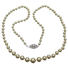 1920's Vintage Faux Cream Pearl Necklace, 14k White Gold Diamond Clasp