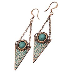 Artisan Copper & Howlite Chain Dangle Pierced Earrings