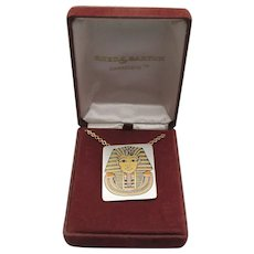 """Vintage Reed & Barton DAMASCENE """"King Tut"""" Necklace or Pin, NEW in Box!"""