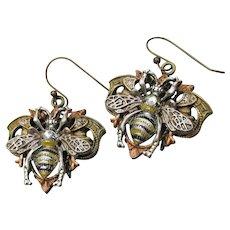 Artisan Copper, Brass, Pewter Big BEE Rhinestone Handmade Dangle Earrings