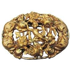 Large Art Nouveau Revival Oval Gold Tone CHERUB & Flowers Pin