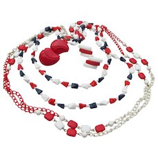 1960's MOD Vintage Red, White & Blue Patriotic 2 Necklaces & Earrings Set