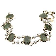 Signed RUSSEL Vintage 12k Gold Filled Nephrite Jade & Cultured Pearl Bracelet