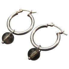 Sterling Silver & Dangle Smoky Quartz Bead Vintage Pierced Hoop Earrings