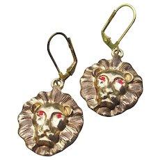 Handmade Artisan LION Head Dangle Earrings
