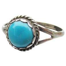 Native American Navajo Joel GRAY Signed Sleeping Beauty Turquoise Sterling Silver Ring