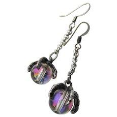 Artisan Sterling Silver & Black Claw Crystal Ball Long Drop Pierced Earrings