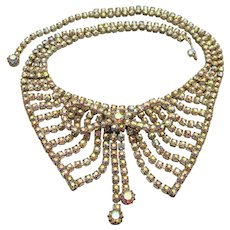Extraordinary Vintage 1950's Aurora Borealis Rhinestone Collar & Bow Necklace & Earrings