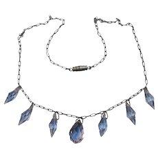 Vintage Art Deco Lavender Dangle Crystal Sterling Chain Necklace & Earrings Set