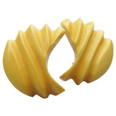 Genuine Pale Yellow Carved BAKELITE Vintage Earrings