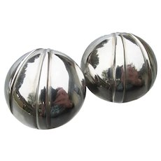 Signed Bayanihan Vintage Modernist Large Sterling Silver Pierced Button Earrings
