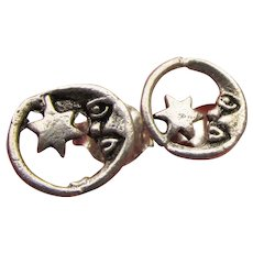 MOON & Stars Vintage Sterling Silver Stud Earrings