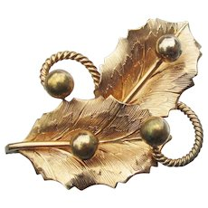 Pretty Signed Loran Sim Vintage 12k Gold Filled Leaf & Berry Pin