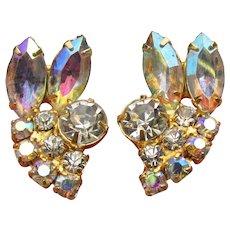 Pretty 1960's Vintage Marquise Aurora Borealis Rhinestone Clip Gold Tone Earrings