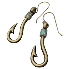 Handmade Artisan Articulated FISH Hook Dangle Earrings