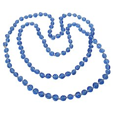 1920's Vintage Blue Molded Czech Glass Flower Bead Flapper Necklace
