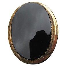 12k Gold Filled Signed CATAMORE Vintage Black Onyx Pin or Pendant