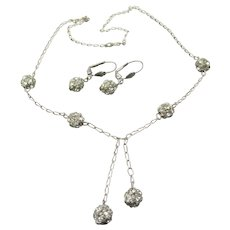 Italy Vintage Sterling Silver Dangle Crystal Rhinestone Ball Tassel Necklace & Lever Back Earrings Set
