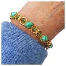 Vintage Faux Jade Peking Glass & Rhinestone Hinged Cuff Bracelet