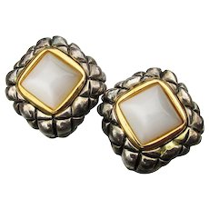 Retired Signed PREMIER Design Mother-of-Pearl Clip Earrings