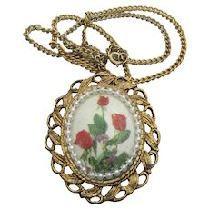 Signed Frosted Red TULIPS Vintage Pendant Necklace or Pin