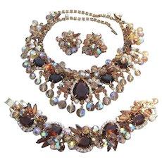 Exquisite JULIANA Topaz Rhinestone Dangling Crystals Necklace, Bracelet, Earrings Set, Book Piece!