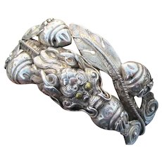 Spectacular! Vintage Wrapped DRAGON Sterling Silver Cuff Bracelet